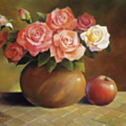 Roses And Apple Art Print by Han Choi - Printscapes