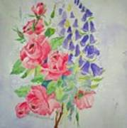 Roses And Digitalis Art Print