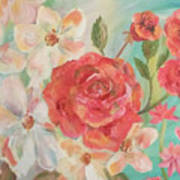 Roses And Flowers Art Print