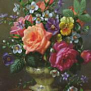 Roses And Pansies Art Print