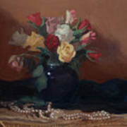 Roses And Pearls Art Print