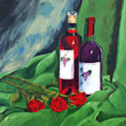 Roses And Wine Art Print