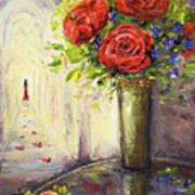 Roses And Woman Art Print