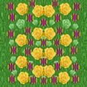 Roses Dancing On A Tulip Field Of Festive Colors Art Print