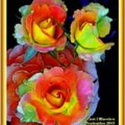 Roses For Anne Catus 1 No. 3 V A With Decorative Ornate Printed Frame. Art Print