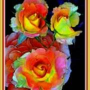 Roses For Anne Catus 1 No. 3 V B With Decorative Ornate Printed Frame. Art Print