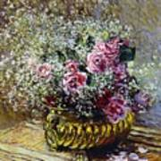 Roses In A Copper Vase Art Print by Claude Monet