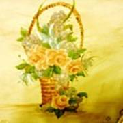 Roses In Basket Art Print