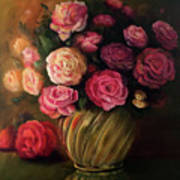 Roses In Brass Bowl Art Print