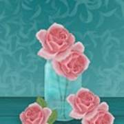 Roses In Clear Blue Jar Art Print