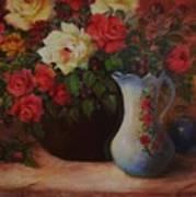 Roses N'blue Art Print