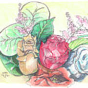 Roses On A Birthday Art Print