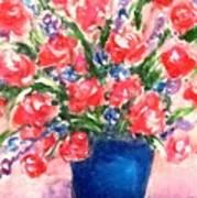 Roses On Blue Vase Art Print