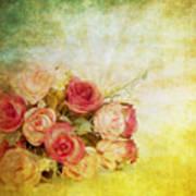 Roses Pattern Retro Design Art Print