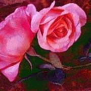 Roses Silked Pink Vegged Out Art Print