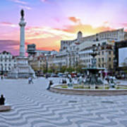 Rossio Square In Lisbon Portugal At Sunset Art Print