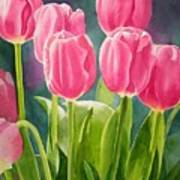 Rosy Pink Tulips Print by Sharon Freeman