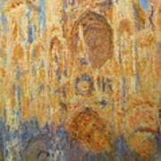 Rouen Cathedral, Facade, Sunset Art Print