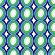 Round And Round Blue And Green- Art By Linda Woods Art Print