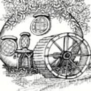 Round Fairy House And Waterwheet Art Print