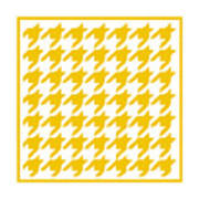 Rounded Houndstooth With Border In Mustard Art Print