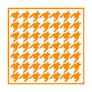 Rounded Houndstooth With Border In Tangerine Art Print