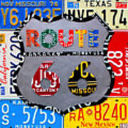 Route 66 Highway Road Sign License Plate Art Art Print