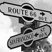 Route 66 Street Sign Black And White Art Print