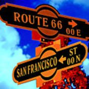 Route 66 Street Sign Stylized Colors Art Print