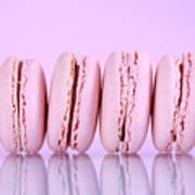 Row Of Pink Macaron Cookies Art Print