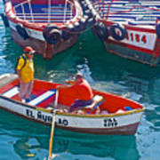 Rowboat In The Harbor At Port Of Valpaparaiso-chile Art Print