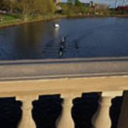 Rowinfg Towards The Weeks Bridge Charles River Harvard Square Cambridge Ma Art Print