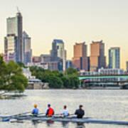 Rowing The Schuylkill - Philadelphia Cityscape Art Print