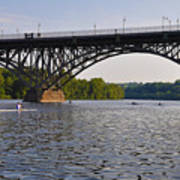 Rowing Under The Strawberry Mansion Bridge Art Print by Bill Cannon