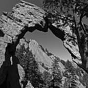 Royal Arch Trail Arch Boulder Colorado Black And White Art Print