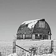 Royal Barn Winter Bnw Art Print