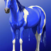 Royal Blue Wet Paint Horse Art Print