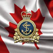 Royal Canadian Navy  -  R C N  Badge Over Canadian Flag Art Print