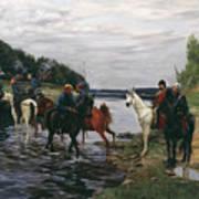 Rubicon. Crossing The River By Denis Davydov Squadron. 1812. Art Print