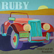 Ruby Ford Roadster Art Print by Evie Cook