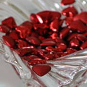 Ruby Red Hearts And Crystal Art Print