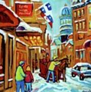 Rue St Paul Montreal Streetscene Cafes And Caleche Art Print