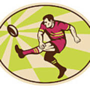 Rugby Player Kicking The Ball Retro Art Print