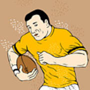 Rugby Player Runningwith The Ball Art Print by Aloysius Patrimonio