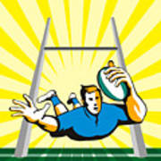 Rugby Player Scoring Try Retro Art Print
