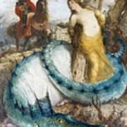 Ruggiero And Angelica Arnold Bcklin Art Print