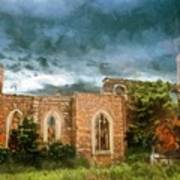 Ruins Under Stormy Clouds Art Print