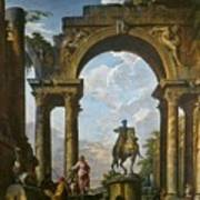 Ruins With The Statue Of Marcus Aurelius Giovanni Paolo Panini Art Print