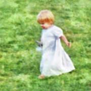 Running Barefoot In The Grass Art Print
