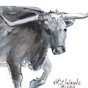 Running Texas Longhorn Watercolor Painting By Kmcelwaine Art Print